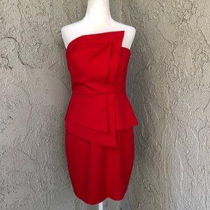 Black Halo Strapless Red Peplum Style Dress Sz 8